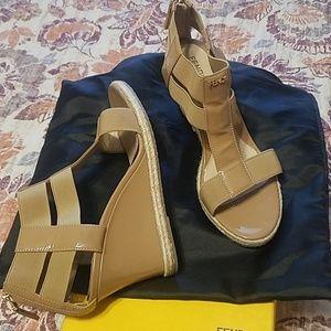 Womens FENDI Beige Patent Leather T-Strap Sandals